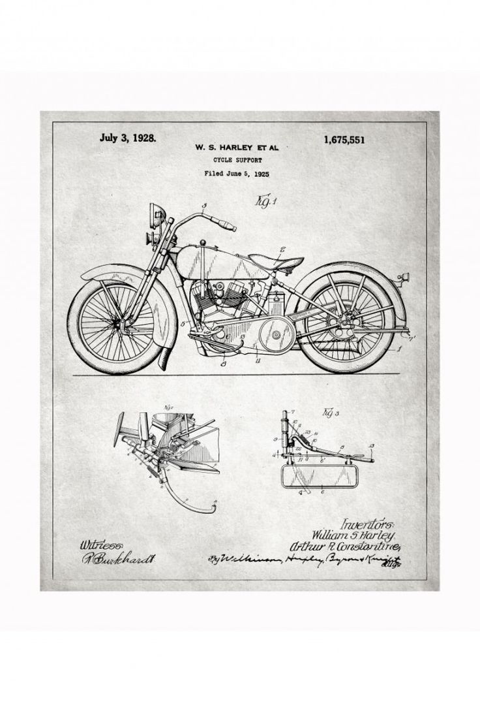 harley blueprints 740x1081 Vintage Patent Application Posters