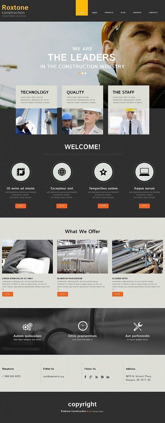 Construction Company Moto CMS HTML Template #52220