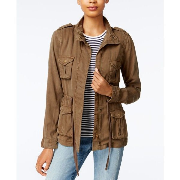 Maison Jules Cargo Jacket, Created for Macy's ($67) ❤ liked on Polyvore featuring outerwear, jackets, dusty olive, mandarin collar jacket, olive green cargo jacket, pocket jacket, green military jackets and brown jacket
