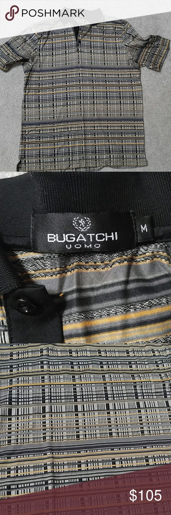 Mens Bugatchi polo shirt Very elegant men's BUGATCHI polo shirt Used once Size M but runs a bit larger In Mint condition 100% authentic 100% mercerized Egyptian cotton Pet free and smoke free home Bugatchi Shirts Polos