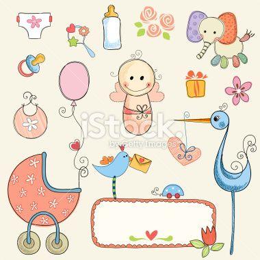 Cute Baby Girl Set Royalty Free Stock Vector Art Illustration