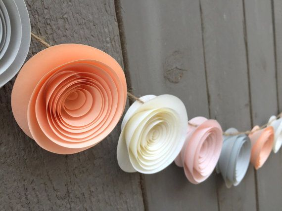Peach Flower Garland Grey Flower Garland Ivory Flower