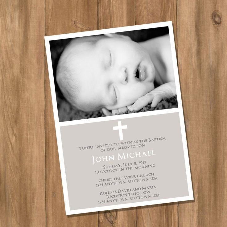 Baptism or Christening Invitation with Cross for Girl or Boy (Digital - DIY). $13.00, via Etsy.