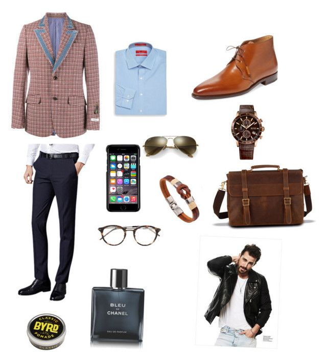 """Sin título #322"" by carolinaramirez-1 on Polyvore featuring Gucci, Romano Martegani, Saks Fifth Avenue, BOSS Hugo Boss, County Of Milan, Ray-Ban, Bottega Veneta, Chanel, men's fashion y menswear"
