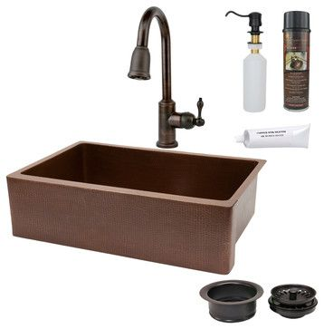 "33"" Antique Copper Hammered Kitchen Apron Single Basin Sink (KASB33229) Single Handle Kitchen Faucet with Pullout Spray - Oil Rubbed Bronze (K-PD01ORB) Solid Brass Soap & Lotion Dispenser - Oil Rubbed Bronze (PCP-701ORB) 3.5"" Deluxe Garbage Disposal Drain w/ Basket - Oil Rubbed Bronze (D-130ORB) Copper Sink Wax and Cleaner (W900-WAX) Copper Sink Installation Silicone (C900-ORB)"