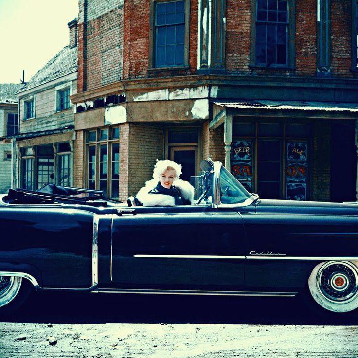 "1950sbeautifulyears: "" Marilyn Monroe driving her '54 Cadillac Series 62 con…"