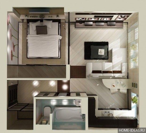 Примеры планировки однокомнатной квартиры