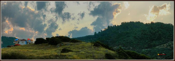 Before sunset and Hotel Maistrali, Sarti, Halkidiki, Greece, Nikon Coolpix L310, panorama mode photo, HDR-Art photography 2014