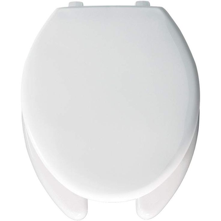 Bemis 1950 Elongated Commercial Plastic Open Front Toilet Seat with Top-Tite&reg White Accessory Toilet Seat Elongated