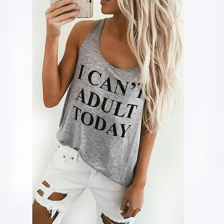 Sexy Debardeur Femme Tank Top For Women New Woman Cloth I CAN'T ADULT TODAY Letter Printed Tanks Tops Loose Funny Top QA1126