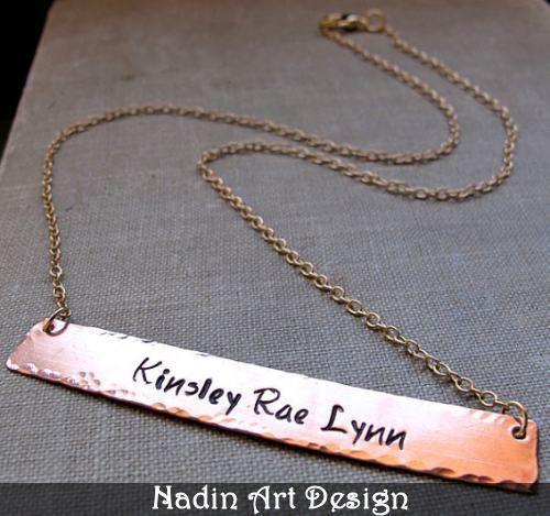 Hand gestempelter Anhänger. Kupfer-Kette. Schmuck von NadinArtDesign auf DaWanda.com