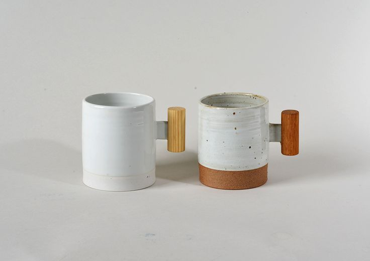 Wooden Handled Mug : pure white