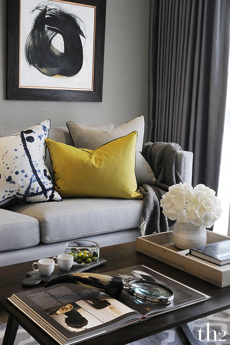 My Apartment: Sophisticated Living Room with Natural Elements - Design  Board. Grey And Yellow ...