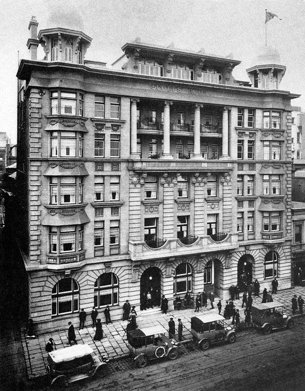 The former Scotts Hotel that used to stand at the west end of Collins Street near William Street.