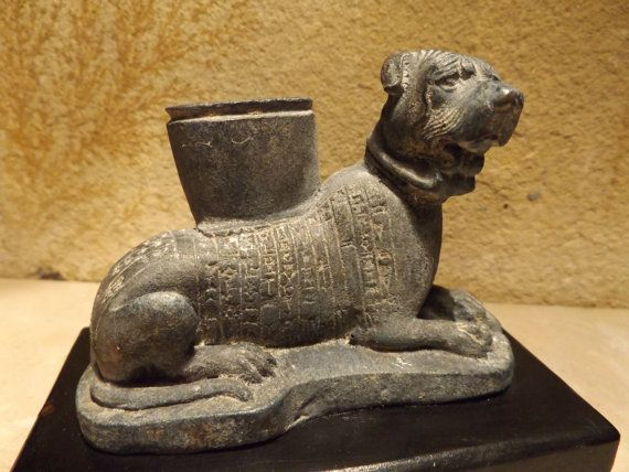 Sumerian statue / sculpture of a Molosser dog with cuneiform text dedication to goddess Ninisina