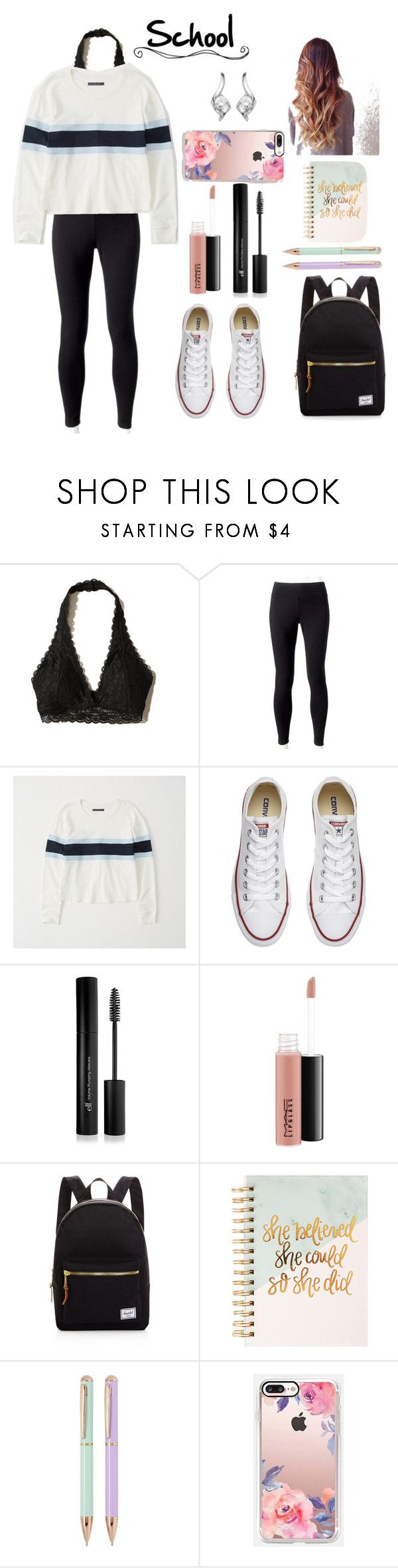 """""""Back to school outfit #2"""" by ava83lewis on Polyvore featuring Hollister Co., Jockey, Abercrombie & Fitch, Converse, Forever 21, MAC Cosmetics, Herschel Supply Co., Sweet Water Decor, Casetify and Sirena Collection"""