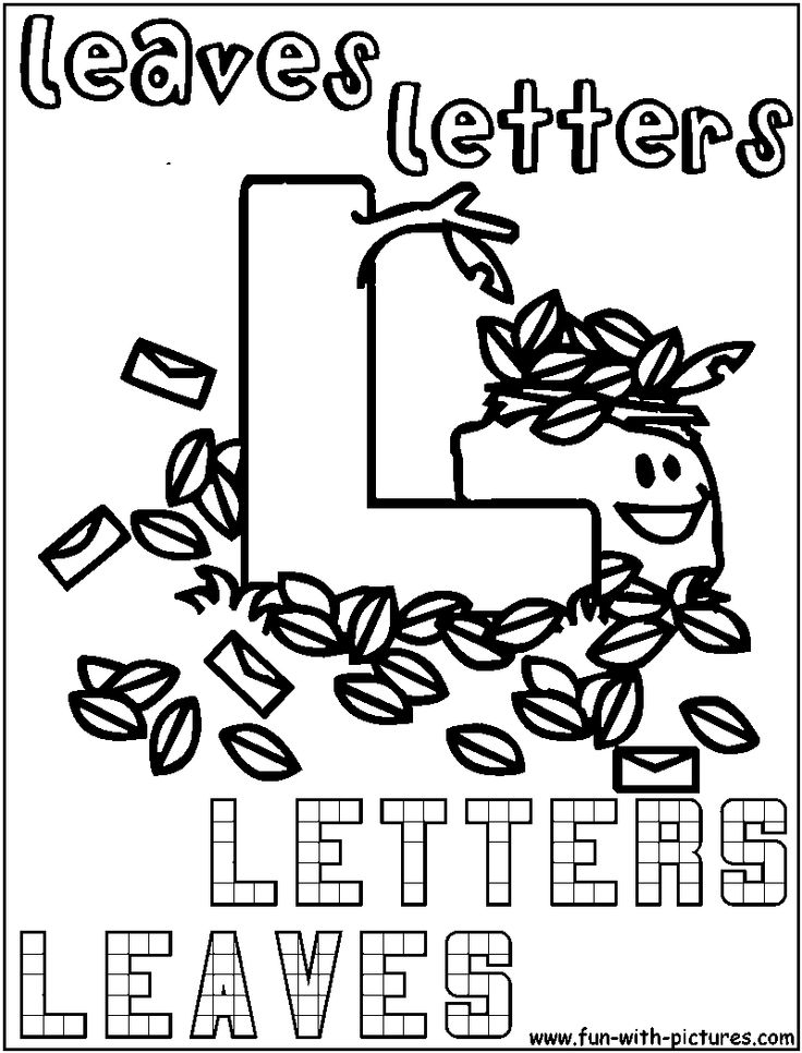 L Leaves Letters Coloring Page