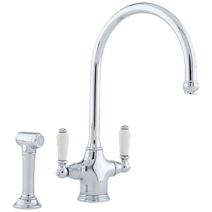 Perrin & Rowe Phoenician Dual Lever Chrome Kitchen Sink Mixer Tap & Rinse 4360CP - Perrin & Rowe from TAPS UK