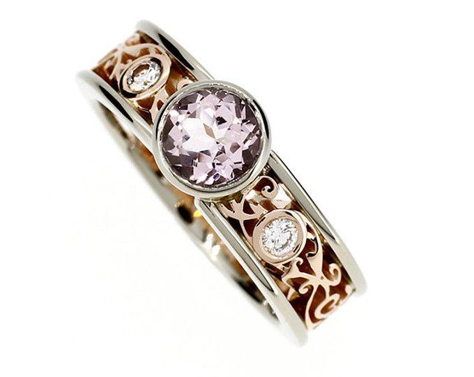 Tamaño 7, Morganita rosa anillo de compromiso de filigrana de oro rosa/blanco, bisel, morganita solitaire, diamante, filigrana de tono dos, banda de encaje