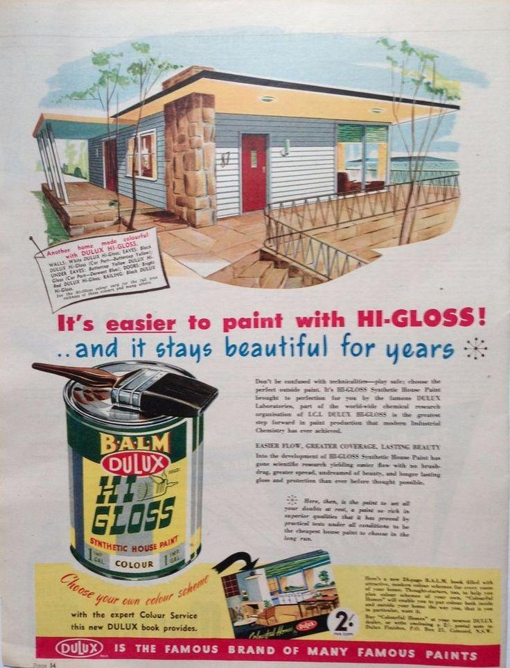 DULUX AD MID CENTURY HOME PAINT 1954 original vintage ...