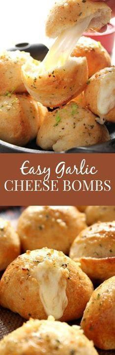 Easy Garlic Cheese B Easy Garlic Cheese Bombs Recipe - biscuit...  Easy Garlic Cheese B Easy Garlic Cheese Bombs Recipe - biscuit bombs filled with gooey mozzarella brushed with garlic Ranch butter and baked into perfection. Easy fast and absolutely addicting! Recipe : http://ift.tt/1hGiZgA And @ItsNutella  http://ift.tt/2v8iUYW