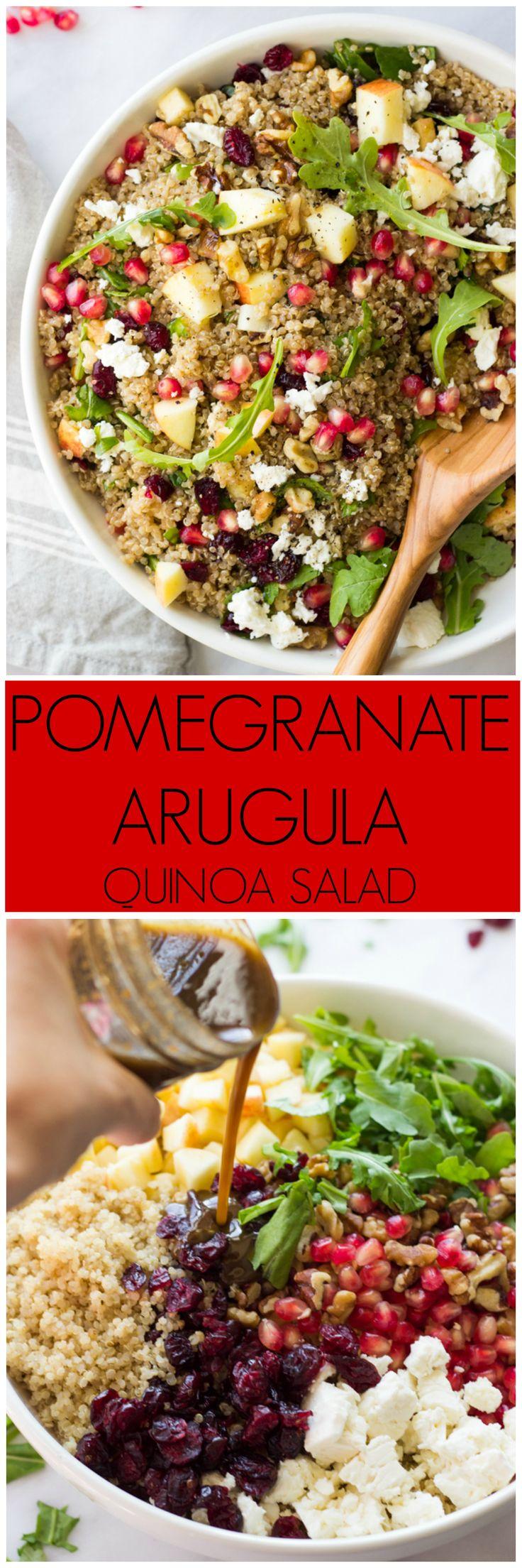 Pomegranate Arugula Quinoa Salad - most festive and delicious salad you will ever make! | littlebroken.com @littlebroken