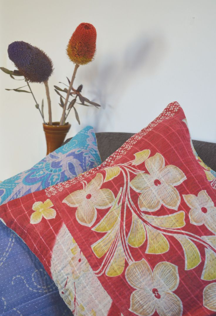 "Vintage Kantha Cushions, handembroidered using the age old kantha stitch & piecing together old saris by Indian village women...so beautiful & so unique, a lovely gift for someone special, currently on sale on our site, look under ""Living"""