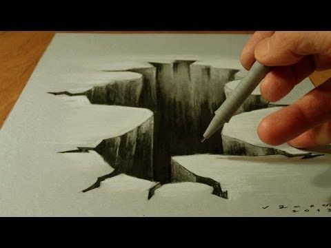 Trick Art on Paper, Drawing  3D Hole, Time Lapse