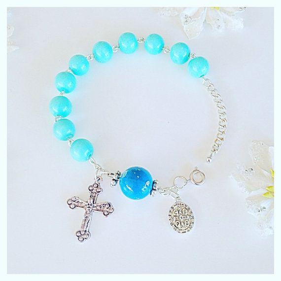 BlueRosary Bracelet by Beautifyyou on Etsy