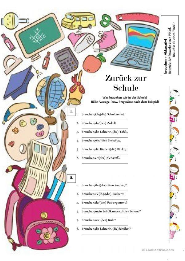 39 besten Meine Schulsachen, in der Schultasche - DaF Arbeitsblätter ...