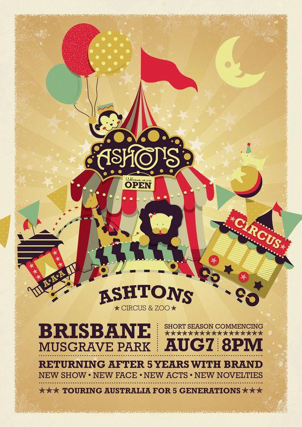 Ashtons Circus & Zoo by Cindy Natassia, via Behance