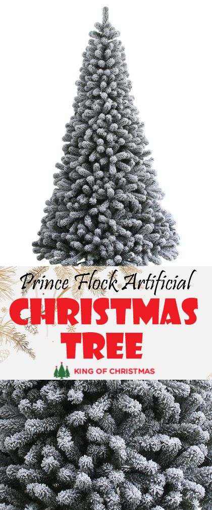 d28e6dbae19 6 Foot Prince Flock Artificial Christmas Tree – Unlit Comes in three Hinged  sections for quick and easy setup Heavily flocked tips Includes metal tree  stand ...