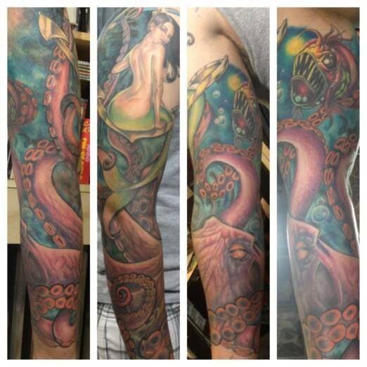 sleeve tattoo ocean mermaid themed sleeve pinterest nautical sleeve ocean and mermaids. Black Bedroom Furniture Sets. Home Design Ideas