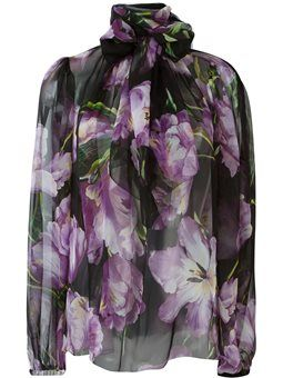 tulip print sheer blouse Dolce & Gabbana
