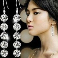 Wish | Chic Lady Delicate Round Zirconia Crystal 925 Silver Dangle Hook Earrings Bridal