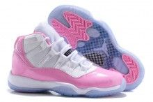 Girls Air Jordan 11s Pink and White icy blue bottom for sale