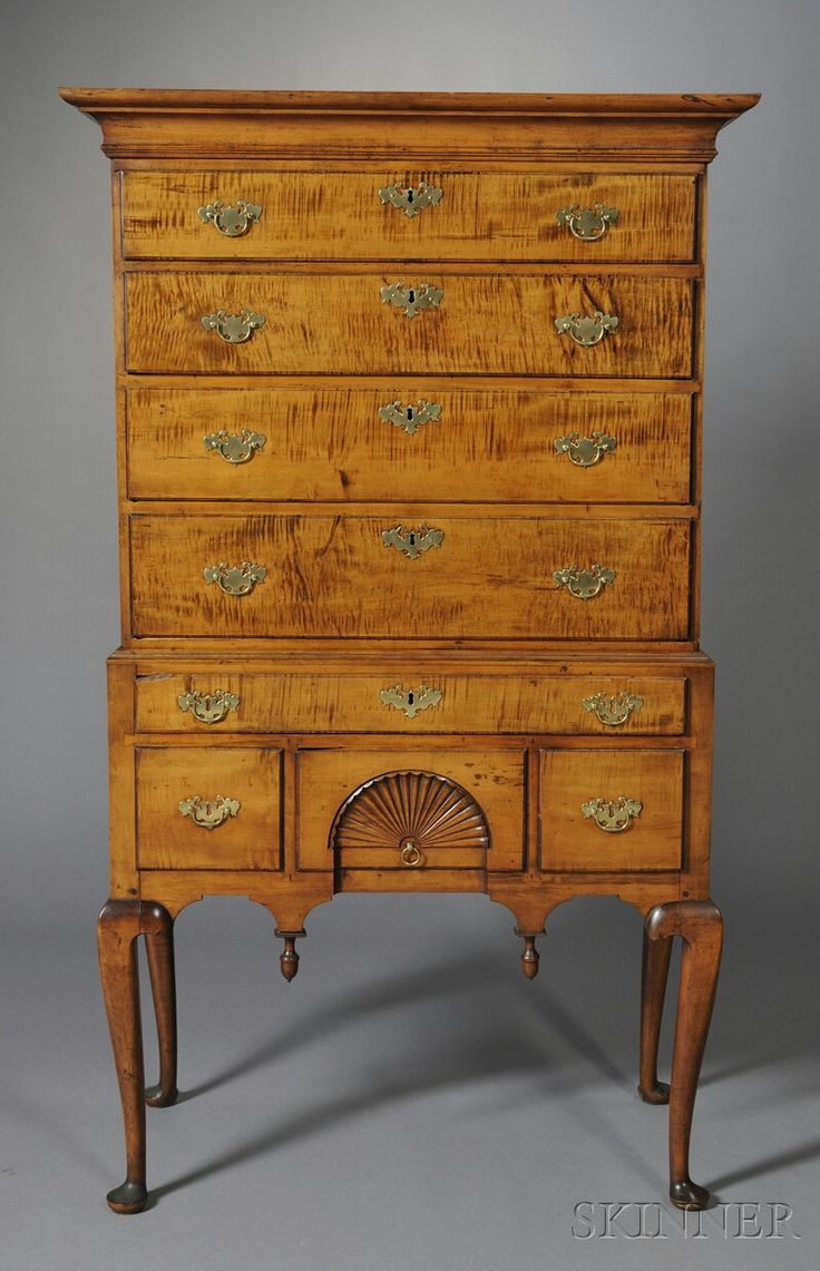 queen anne carved tiger maple high chest of drawers sale number 2618b lot number