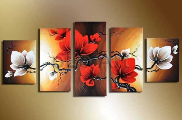 handpainted wall art modern abstract black white red flower pictures for living room home decor 5 piece oil paintings on canvas