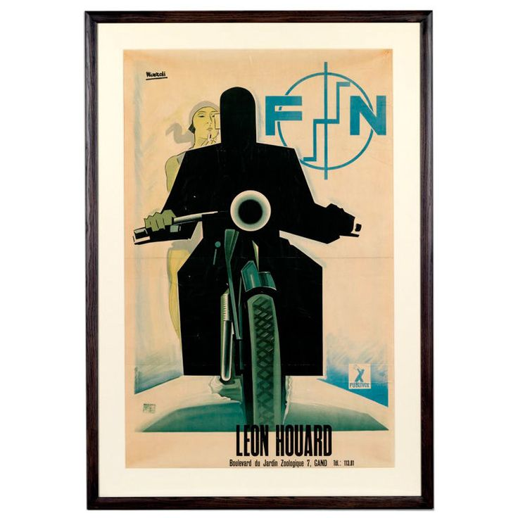 Marcello Nizzoli (1887-1960), rare original poster. Dated 1930. A rare original poster for FN Motorcycles by Marcello Nizzoli. Linen mounted, framed and glazed.