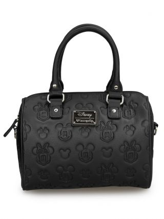 """Mickey & Minnie"" Embossed Crossbody Bag by Loungefly (Black)"