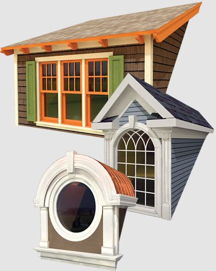 Various custom dormer styles top to bottom shed gable for Barrel dormer
