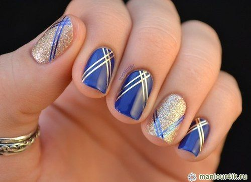 Полосатый маникюр - дизайн ногтей полосы