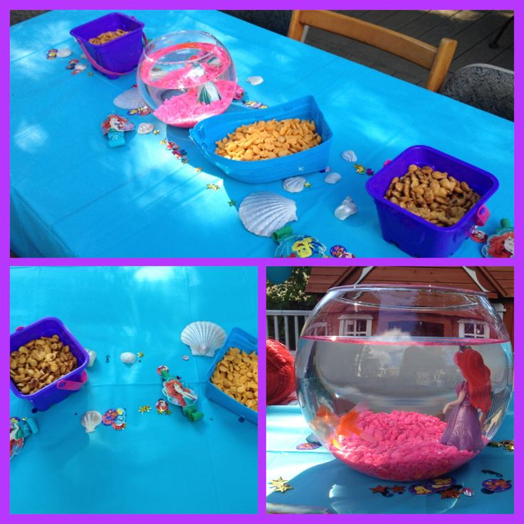 Ariel the little mermaid themed birthday party guest tables
