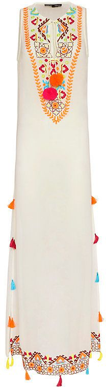 Hemant & Nandita EXCLUSIVE Embroidered Pom/Tassel Maxi Dress