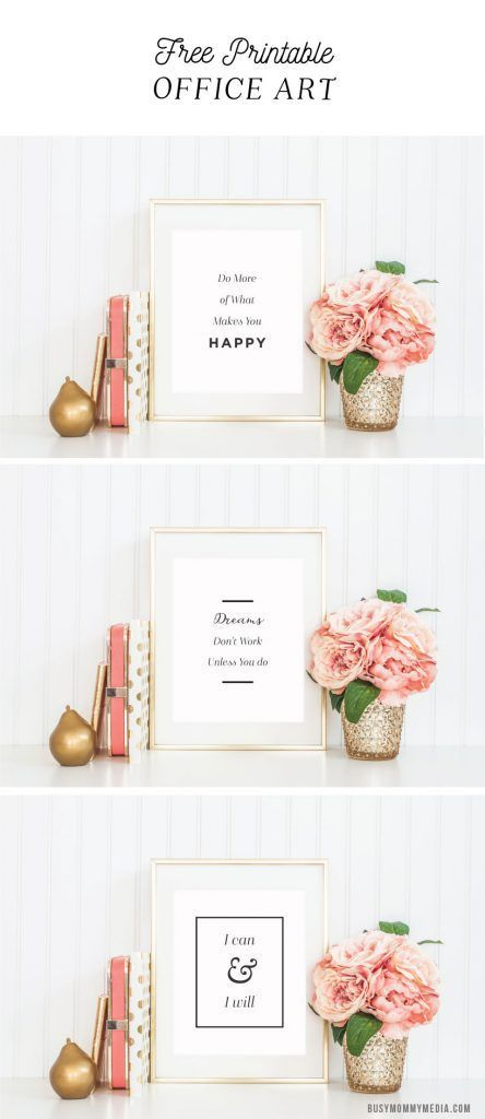 Printable Office Art | These motivational printables are perfect for a home office. Every work at home mom needs these!