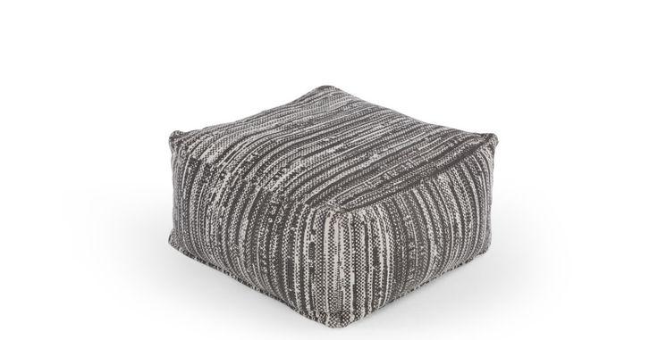 Holst Broken Lines Printed Pouffe, Tonal Grey | made.com