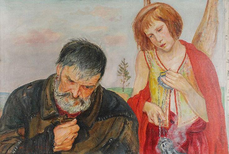 Wlastimil HOFMAN (1881-1970)  Modlitwa, 1924 olej, płótno; 68,5 x 100 cm; sygn. i dat. l. d.: Wlastimil Hofman / 1924