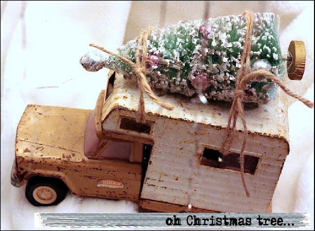 vintage toy camper with Christmas tree