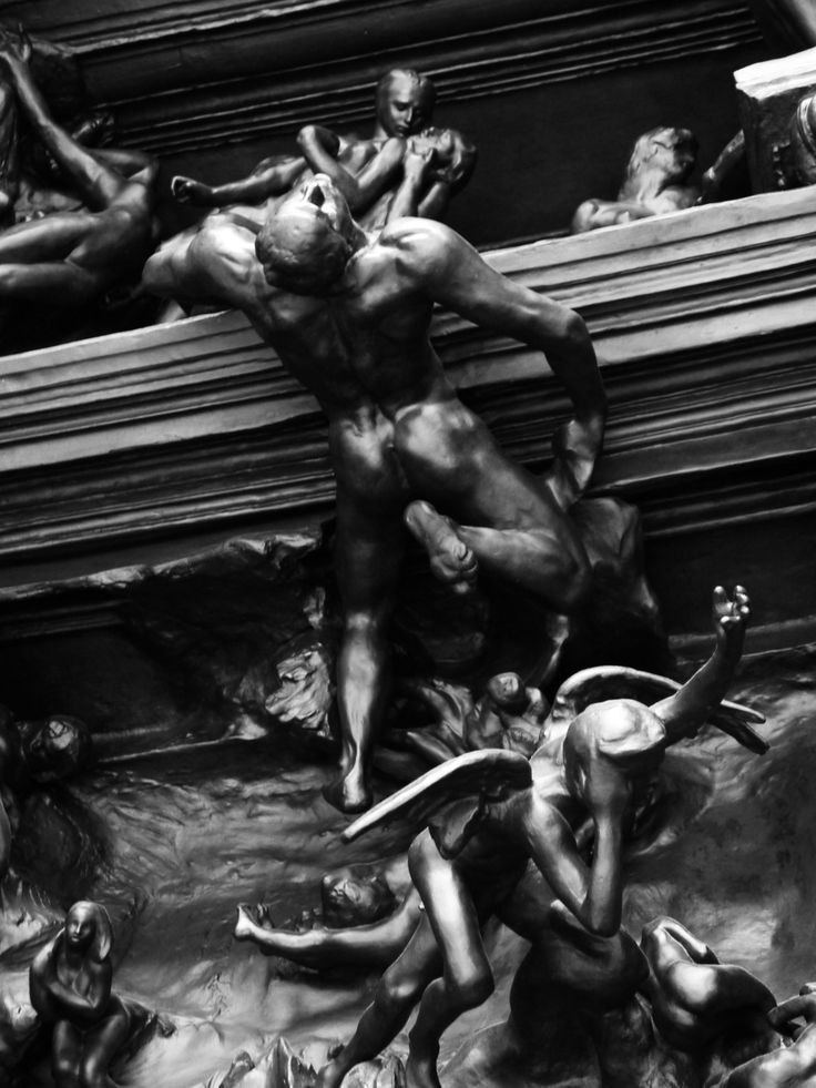 Details from The Gates of Hell by Rodin. Bronze doors originally commissioned for a new museum in Paris which never opened. Rodin worked on the 200 separate elements for almost 37 years. Planned around the characters of Dante's The Divine Comedy, the finished sculpture became a more abstract work with many of Rodin's popular motifs included amongst the tortured souls. This version is at the Rodin Museum in Philadelphia.