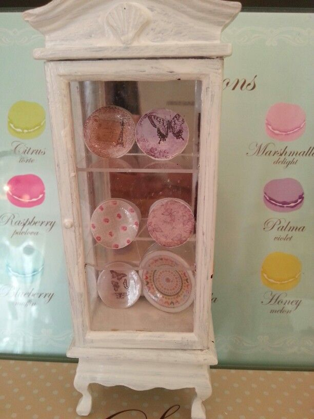 My plates in thier display case I painted and distressed